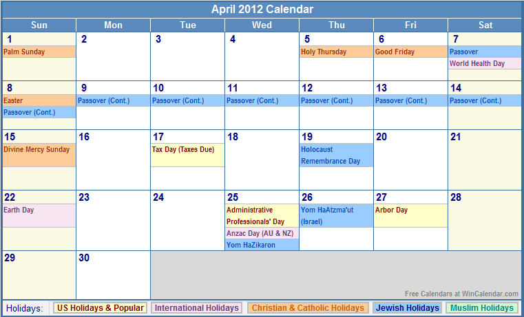 April Calendar Houston : Calendar that includes jewish holidays printable