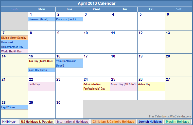 April 2013 Calendar with US, Christian, Jewish, Muslim & Holidays