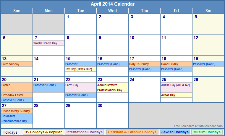 April 2014 Calendar with US, Christian, Jewish, Muslim & Holidays