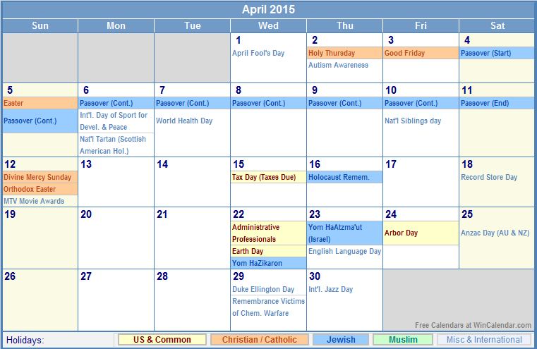 April 2015 Calendar with US, Christian, Jewish, Muslim & Holidays