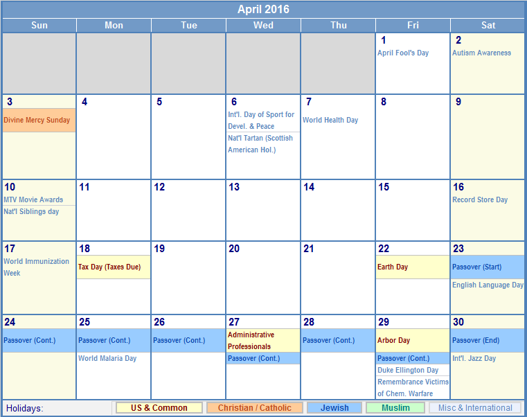 April 2016 Calendar with US, Christian, Jewish, Muslim & Holidays