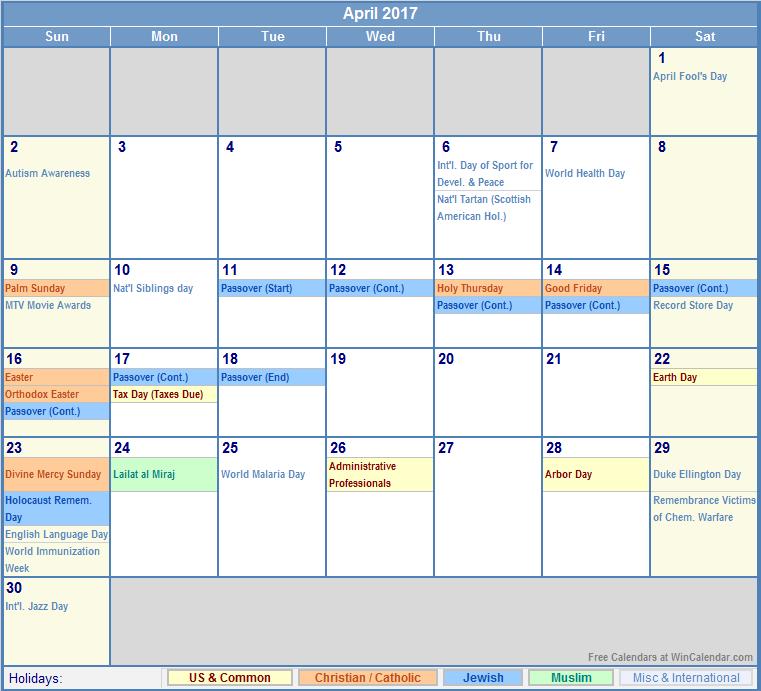 April 2017 Printable Calendar with US, Christian, Jewish, Muslim ...