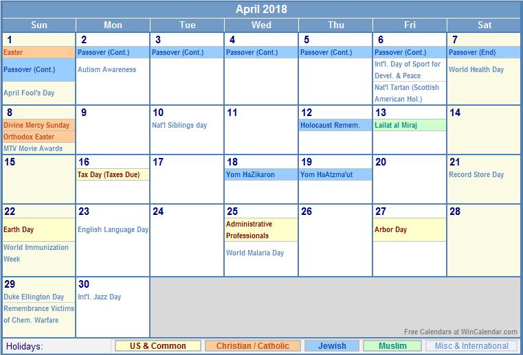 2018 Calendar With Holidays April 2018 calendar with