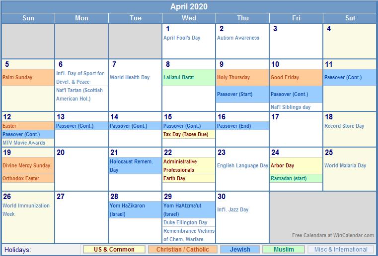 April 2020 Calendar with US, Christian, Jewish, Muslim & Holidays