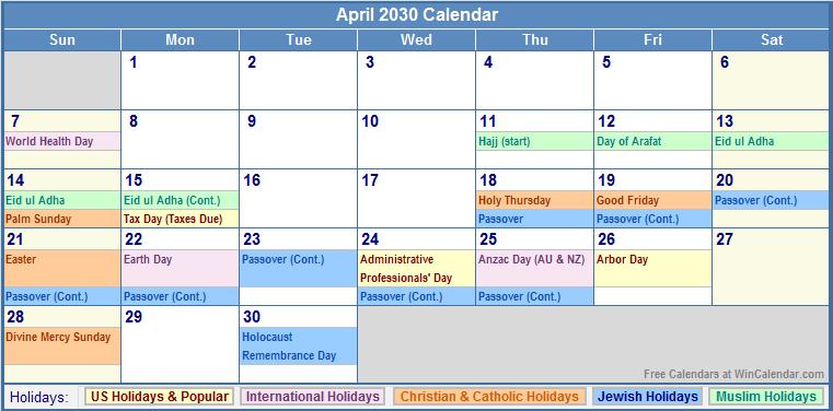 April 2030 Calendar with US, Christian, Jewish, Muslim & Holidays