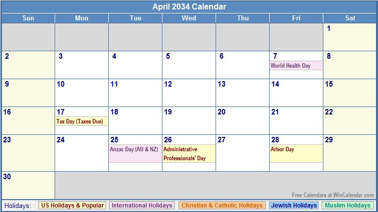 April 2034 Calendar with US, Christian, Jewish, Muslim & Holidays