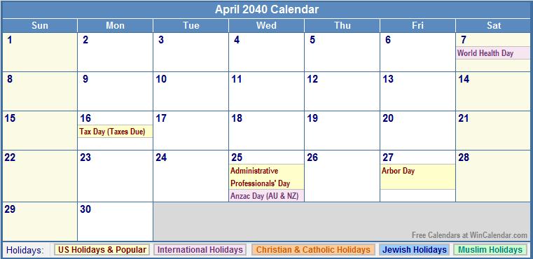 April 2040 Calendar with US, Christian, Jewish, Muslim & Holidays
