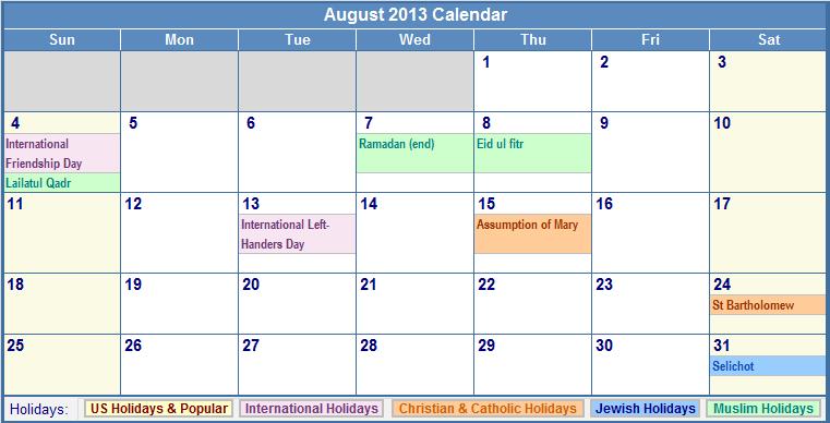 calendar 2013 printable. 2011 Printable August 2011 Calendar august calendar. August 2013 Calendar