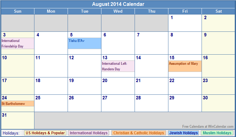 August Calendar 2014 : Calendar with jewish and christian holidays