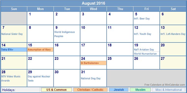 August 2016 Calendar with US, Christian, Jewish, Muslim & Holidays