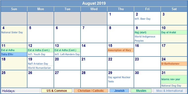 August 2019 Calendar with US, Christian, Jewish, Muslim & Holidays