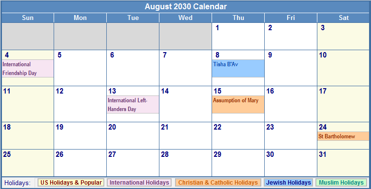 August 2030 Calendar with US, Christian, Jewish, Muslim & Holidays