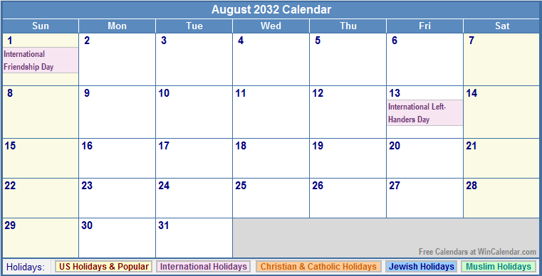 August 2032 Calendar with US, Christian, Jewish, Muslim & Holidays