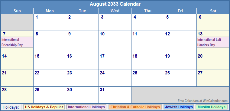 August 2033 Calendar with US, Christian, Jewish, Muslim & Holidays