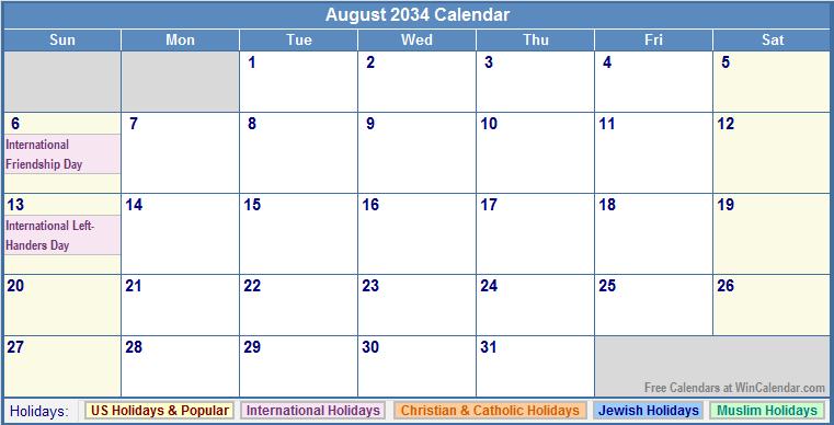 August 2034 Calendar with US, Christian, Jewish, Muslim & Holidays