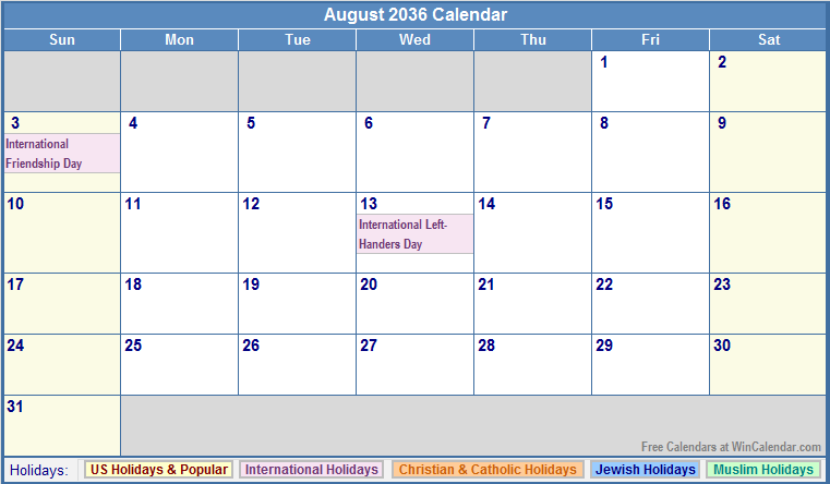 August 2036 Calendar with US, Christian, Jewish, Muslim & Holidays