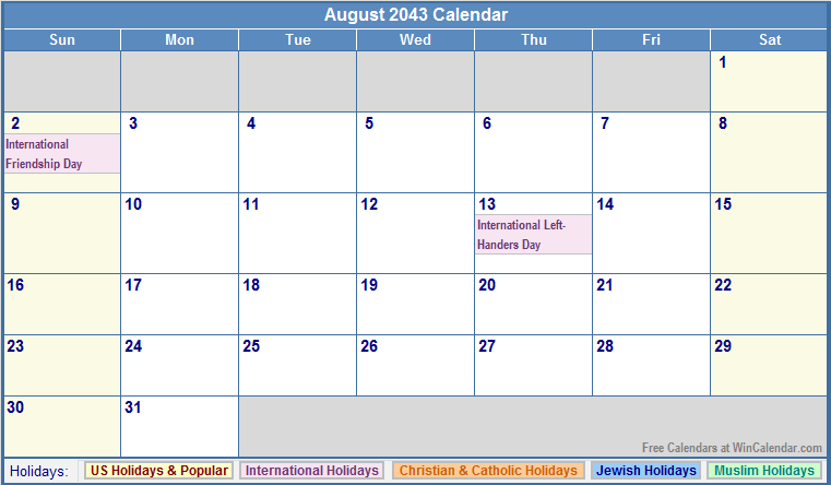 August 2043 Calendar with US, Christian, Jewish, Muslim & Holidays