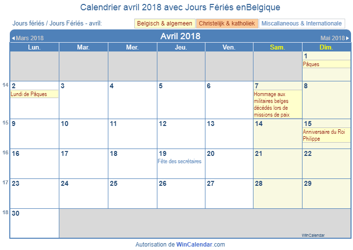 Calendar With Holidays 2019