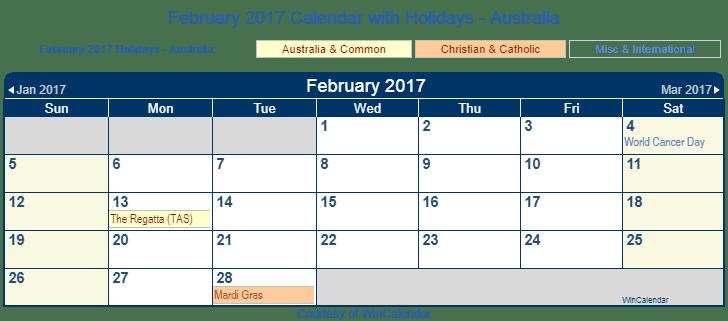 Printable February 2017 Calendar with Holidays -Australia
