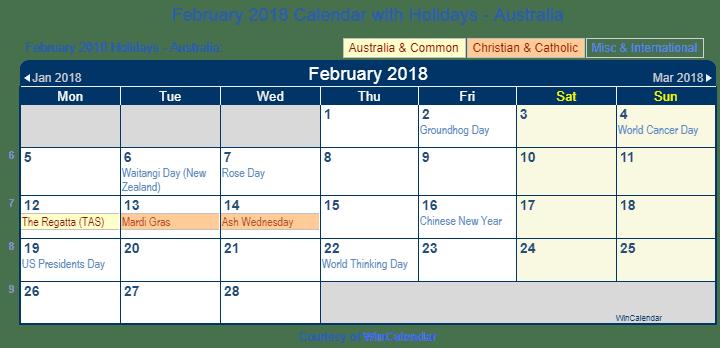 Print Friendly February 2018 Australia Calendar for printing