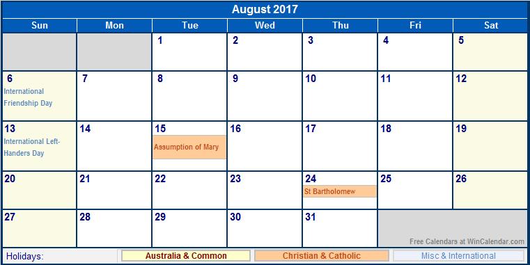 October Calendar 2017 Australia
