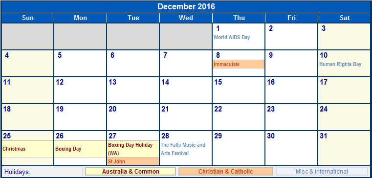 December 2016 calendar holidays template