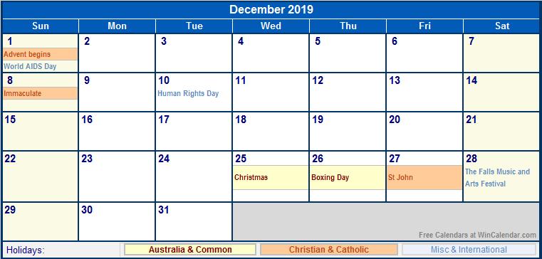 December 2019 Calendar december 2019 australia calendar with holidays ...