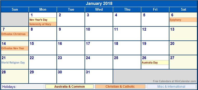 January 2018 Printable Calendar with Australia, Christian ...