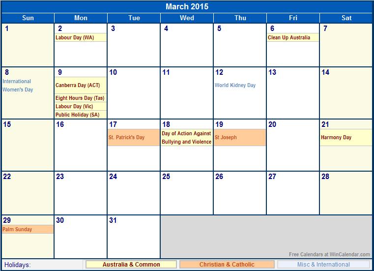 Search results for march holidays 2015 calendar 2015 for Australian calendar template 2015