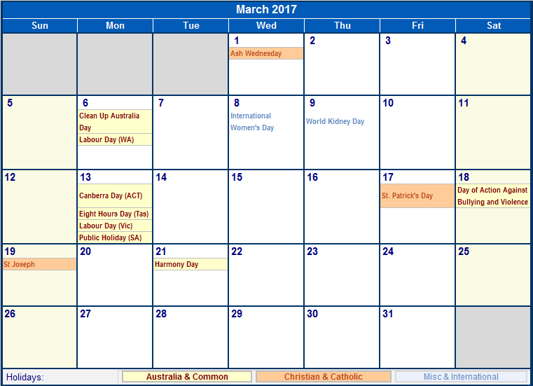 Australia 2017 Calendar
