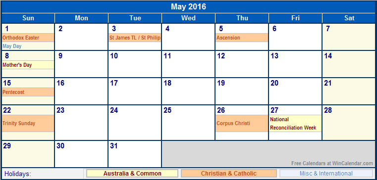 May 2016 Australia Calendar with Holidays for printing ...