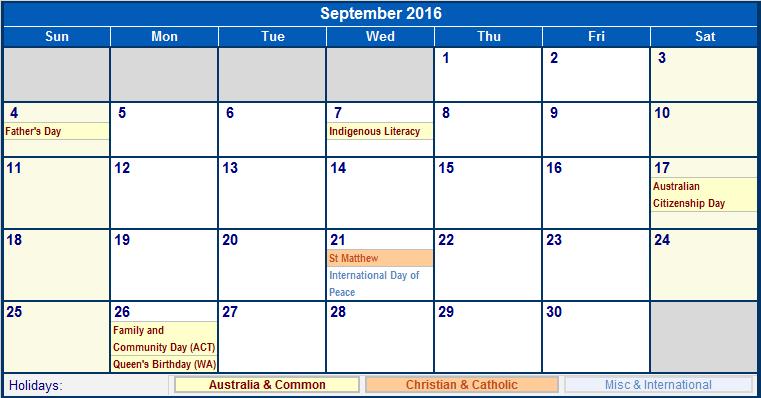 September 2016 Australia Calendar with Holidays for printing (image ...
