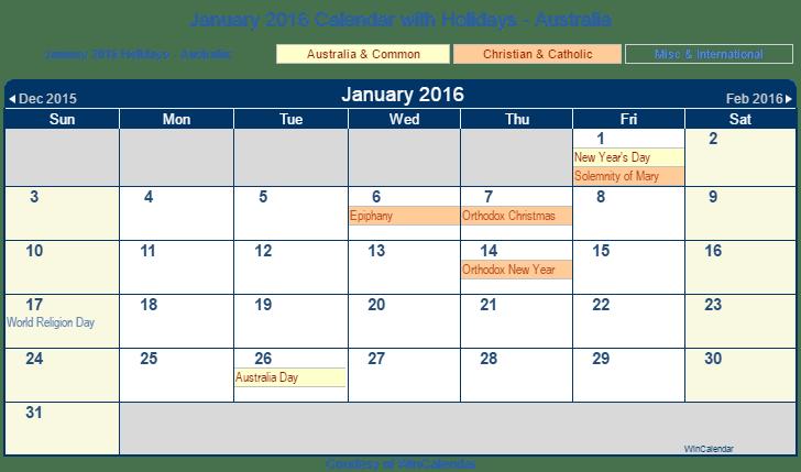 January 2016 Calendar with Australia Holidays (Including Christian and ...