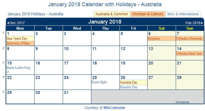 Print Friendly January 2018 Australia Calendar for printing