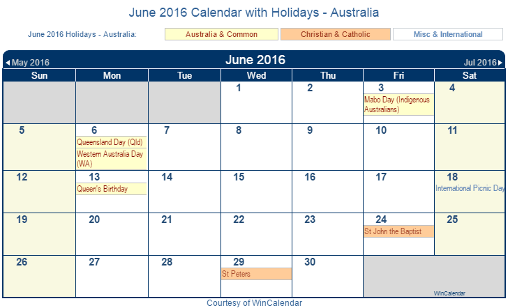 Calendar June Australia : Print friendly june australia calendar for printing