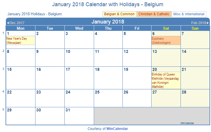 Print Friendly January 2018 Belgium Calendar for printing