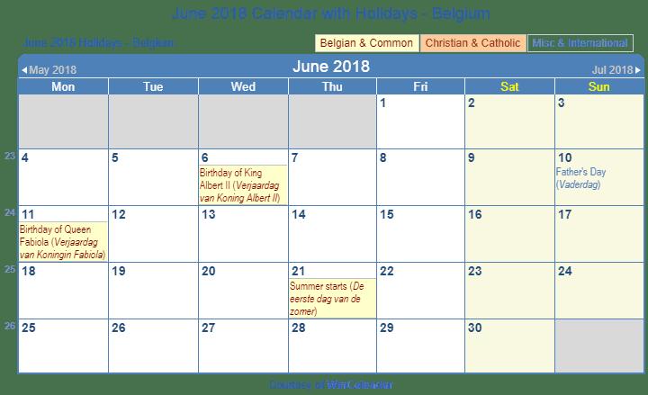 June Wincalendar : Print friendly june belgium calendar for printing
