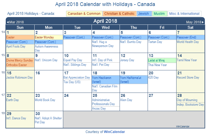 April Calendar Holidays Canada : Print friendly april canada calendar for printing