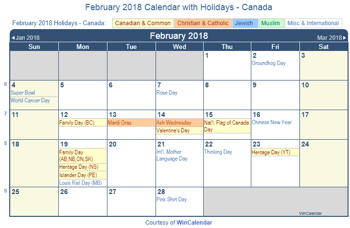 Print Friendly February 2018 Canada Calendar for printing