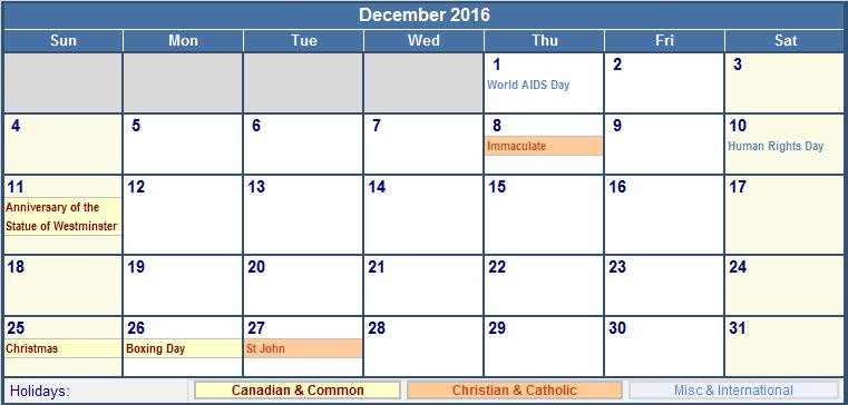 December Calendar 2016 With Holidays : December canada calendar with holidays for printing