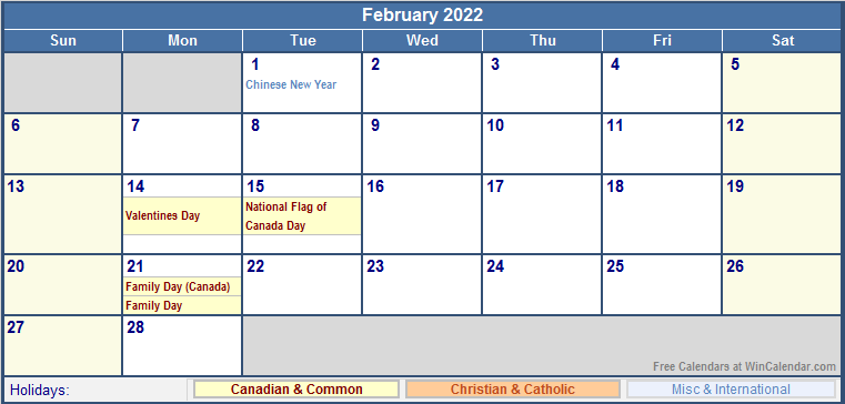 February 2022 Canada Calendar with Holidays for printing (image ...