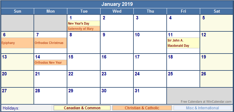 january 2019 canada calendar with holidays for printing