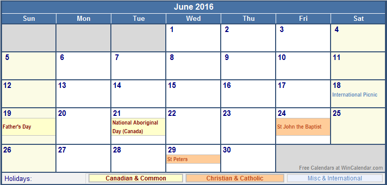 June 2016 Canada Calendar with Holidays for printing (image format)