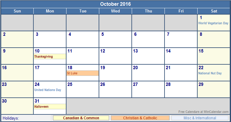 October 2016 Printable Calendar with Canada, Christian & International ...