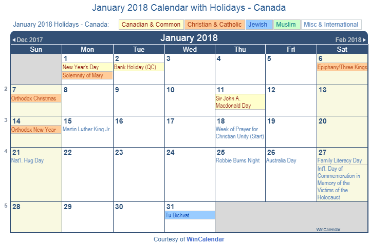Print Friendly January 2018 Canada Calendar for printing
