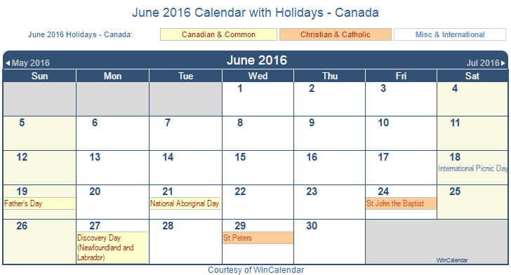 June Wincalendar : Print friendly june canada calendar for printing
