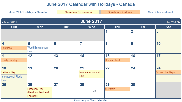 June 2017 Calendar with Canada Holidays (Including Christian and ...