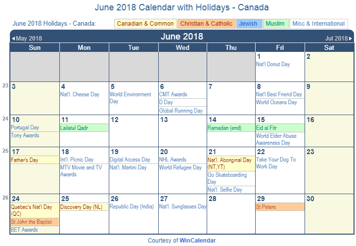 Calendar 2018 June Canada
