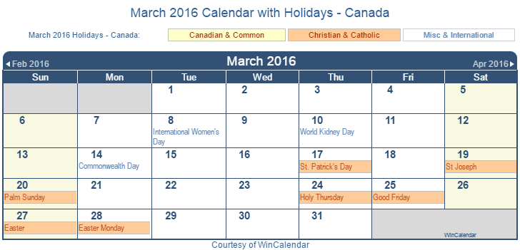 Printable March 2016 Calendar with Holidays -Canada
