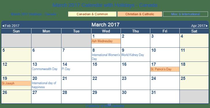 Printable March 2017 Calendar with Holidays -Canada